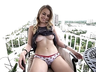 Blonde banged on the balcony