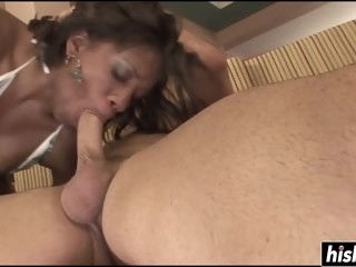Horny black babe enjoys a..