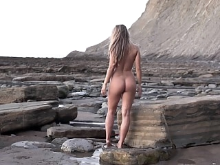 Nude babe morning walk at..
