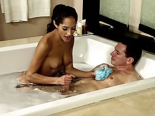 Hot bath with alluring young..