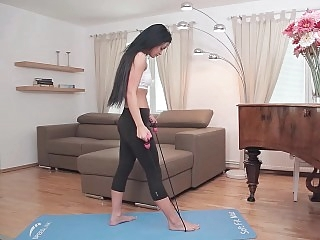 Yoga babe ready for her..