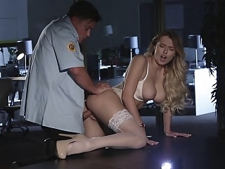 Security guy teased by her..