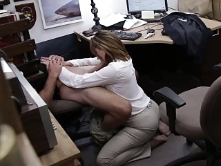 Business lady bent over the..