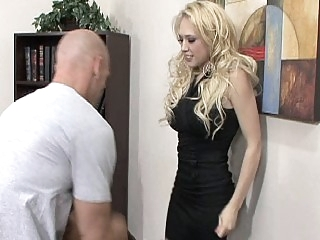 Blonde secretary gets her..